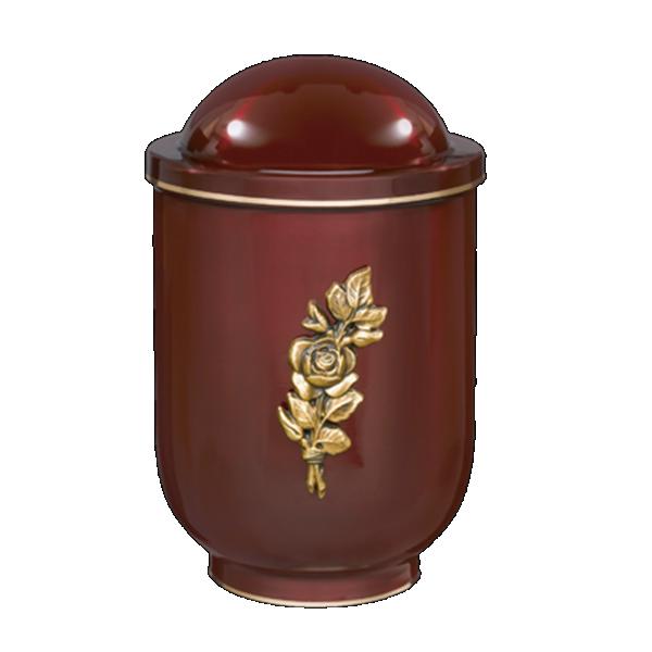 Urna crvena smeđa sa mesing ružom